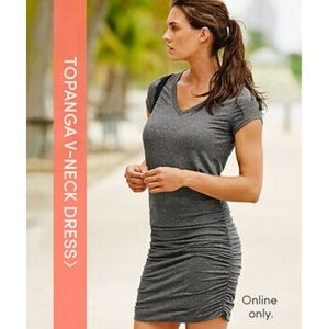 Athleta *In Black Gray Stripe* Topanga V-Neck Dres